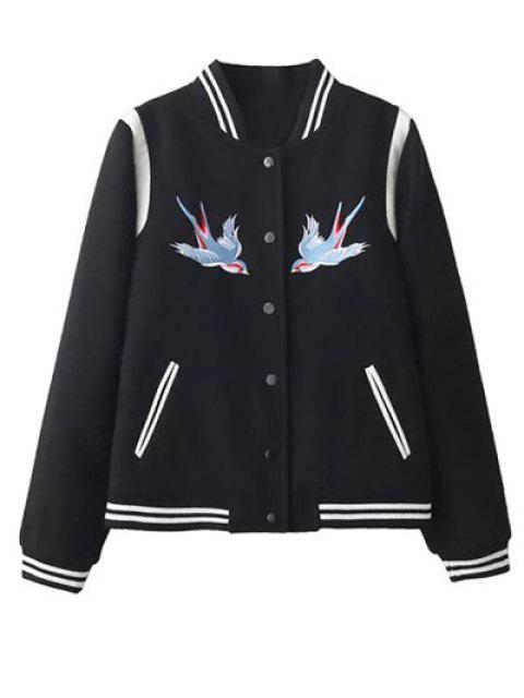 online Snap Button Embroidered Baseball Jacket - BLACK M Mobile
