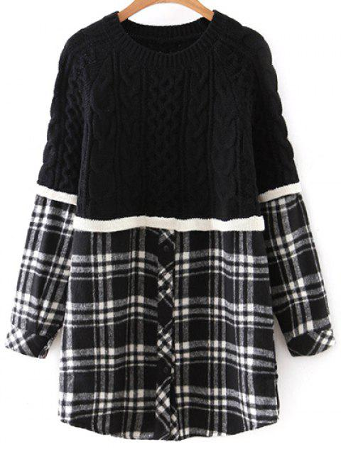 fancy Checked Cable Knit Sweater - WHITE AND BLACK ONE SIZE Mobile