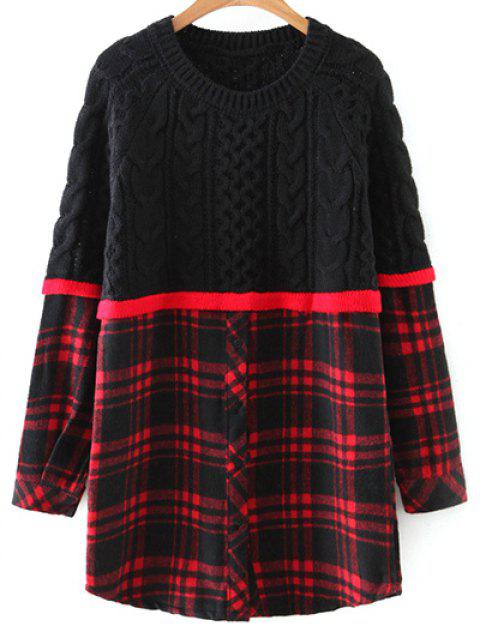unique Checked Cable Knit Sweater - RED WITH BLACK ONE SIZE Mobile