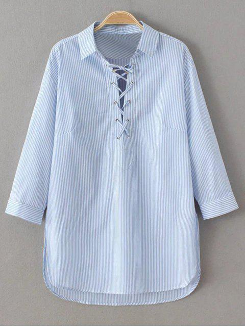 affordable Long Sleeve Striped Lace Up Blouse - BLUE AND WHITE S Mobile