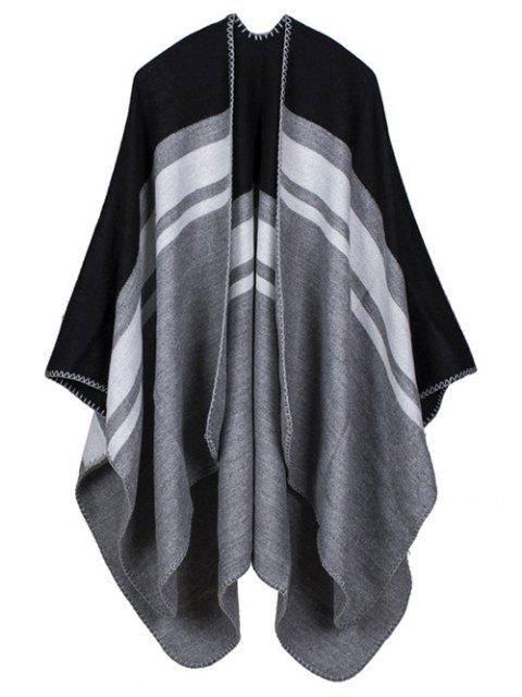 new Warm Stripe Splicing Print Double Side Scarf Pashmina - BLACK  Mobile