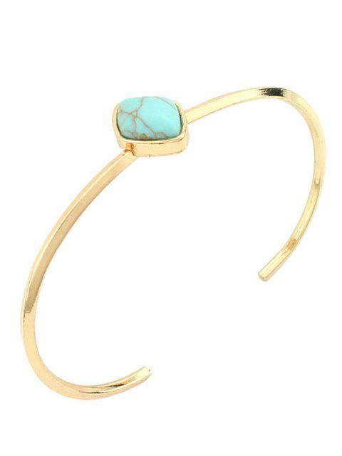 latest Bohemian Geometric Artificial Turquoise Cuff Bracelet - GREEN  Mobile