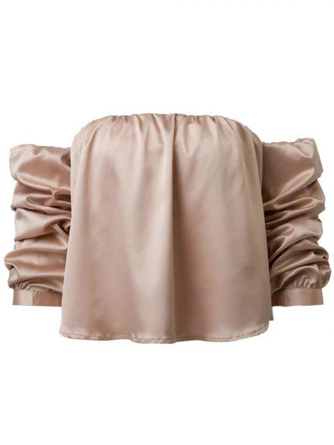 womens Puff Sleeve Off The Shoulder Blouse - KHAKI M Mobile