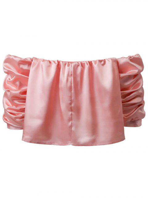 lady Puff Sleeve Off The Shoulder Blouse - PINK S Mobile