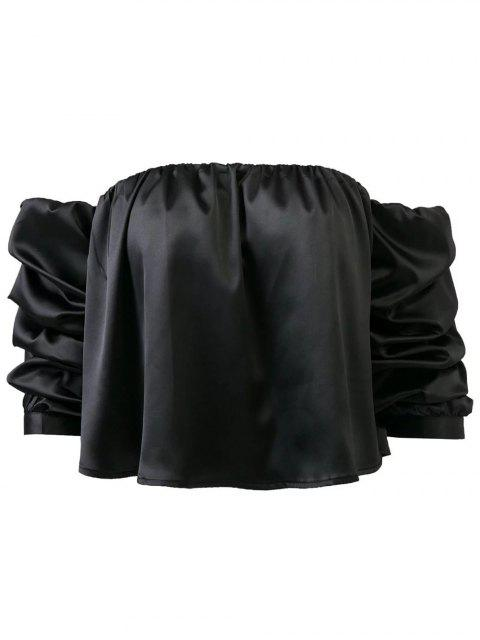 online Puff Sleeve Off The Shoulder Blouse - BLACK M Mobile