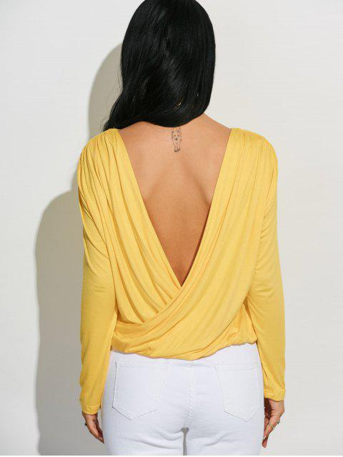 hot Long Sleeve Draped Back T-Shirt - YELLOW M Mobile