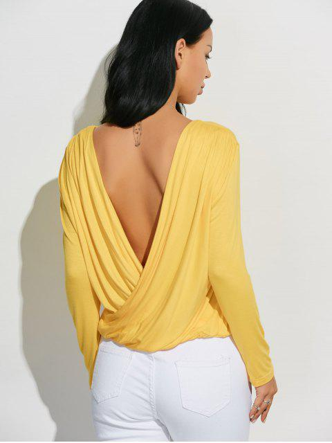 best Long Sleeve Draped Back T-Shirt - YELLOW 2XL Mobile