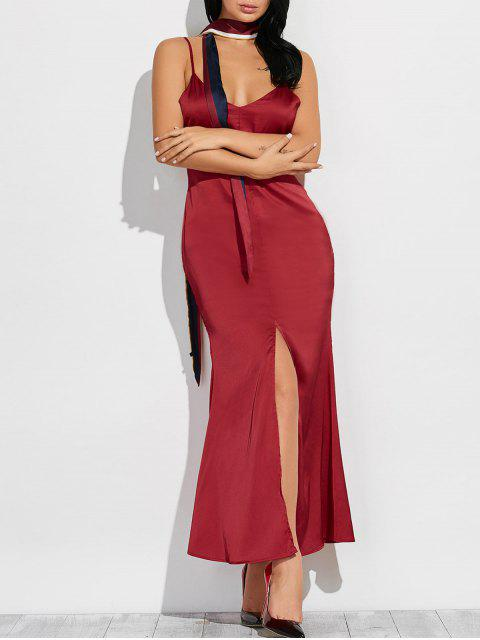 outfit Cami High Furcal Maxi Dress - WINE RED S Mobile