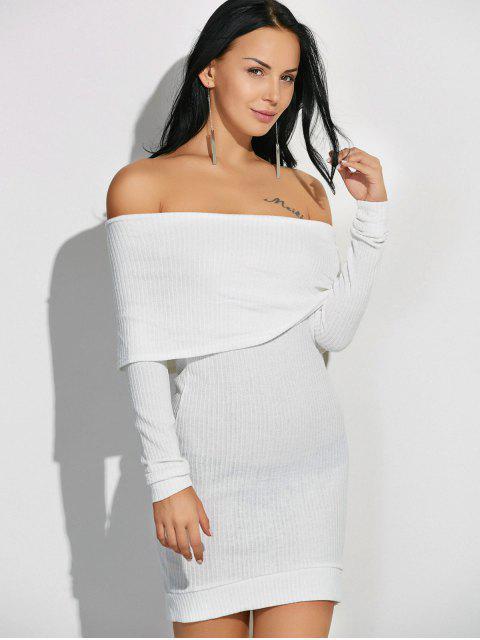 buy Off The Shoulder Jumper Dress - WHITE M Mobile