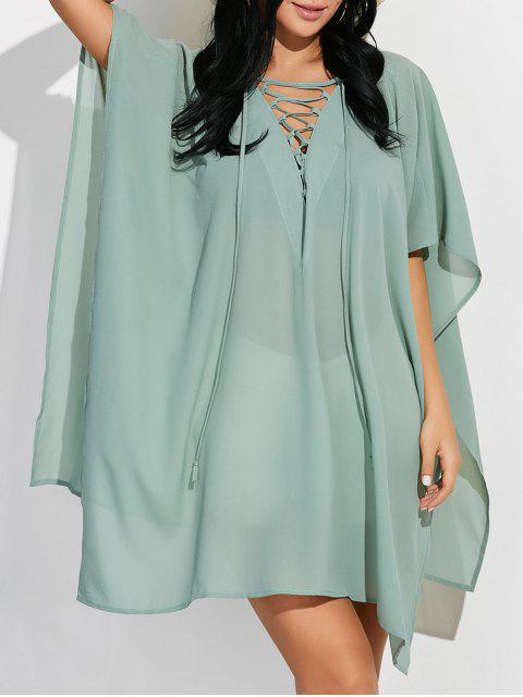 unique Lace Up Dolman Poncho Dress - GREEN XL Mobile
