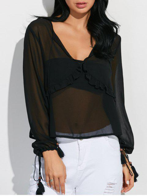 trendy Lantern Sleeve Frilled Sheer Chiffon Top - BLACK S Mobile