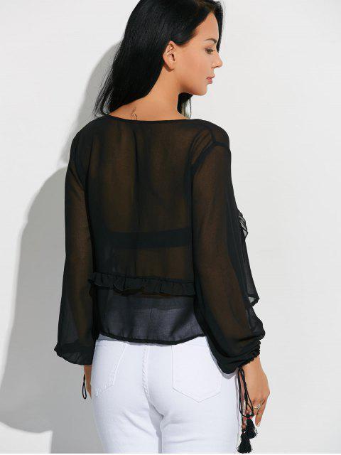 trendy Lantern Sleeve Frilled Sheer Chiffon Top - BLACK S Mobile