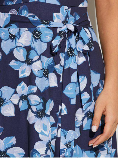 buy Floral Print Twist Neck Maxi Dress - BLUE M Mobile