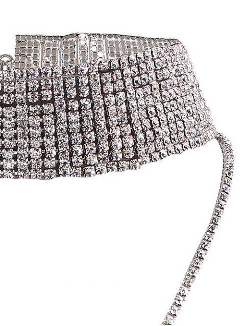 Collier ras du cou bijou long faux strass - Argent  Mobile