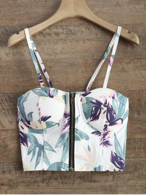 fashion Front Zipper Floral Padded Cami Top - WHITE ONE SIZE Mobile