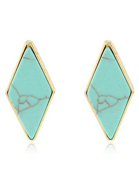 lady Artificial Turquoise Geometric Earrings - GREEN  Mobile