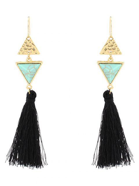 online Artificial Turquoise Tassel Triangle Earrings -   Mobile