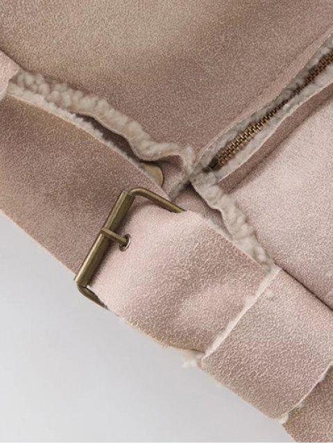 unique Fleece Lined Faux Suede Jacket - NUDE PINK S Mobile