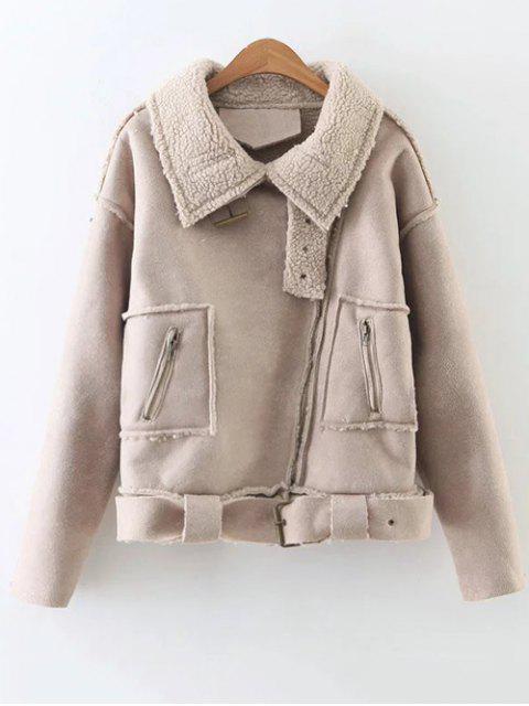 fancy Fleece Lined Faux Suede Jacket - NUDE PINK M Mobile