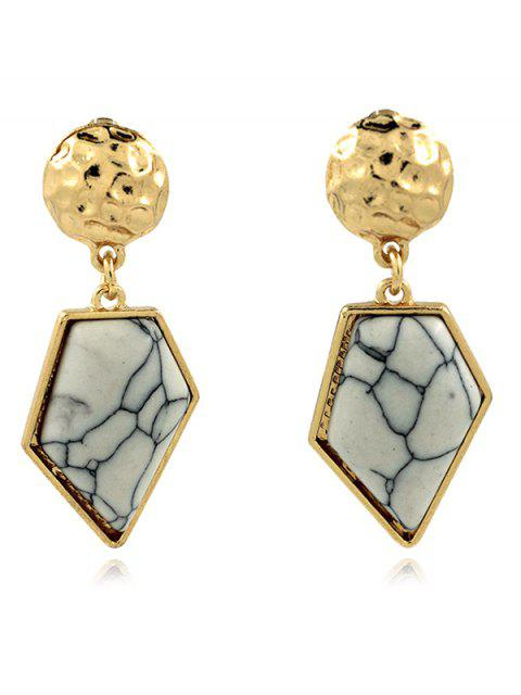 shop Faux Turquoise Irregular Geometric Earrings - WHITE  Mobile