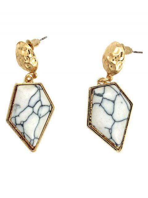Boucles d'oreilles géométriques asymétriques en turquoise artificielle - Blanc  Mobile
