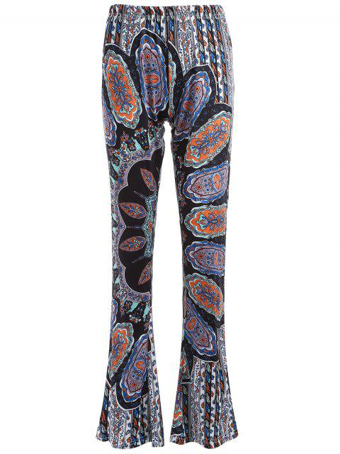 women's Printed Flare Trousers - CYAN AND GREY L Mobile