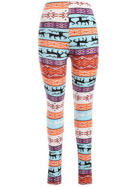 fancy Printed Skinny Christmas Leggings - COLORMIX ONE SIZE Mobile