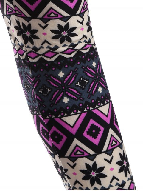 buy Printed Thermal Leggings - PURPLE ONE SIZE Mobile