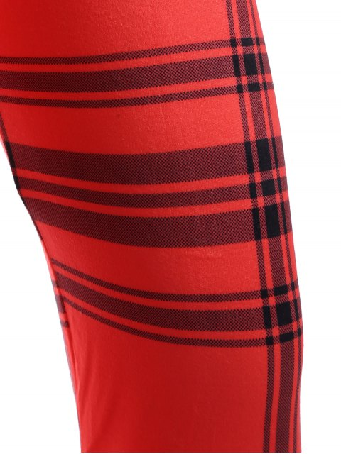 women Checked Ankle Leggings - RED ONE SIZE Mobile