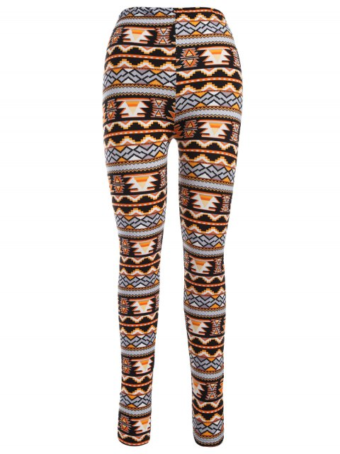 Leggings moulants imprimés motif de Noël à style nordique - Orange Taille Unique Mobile