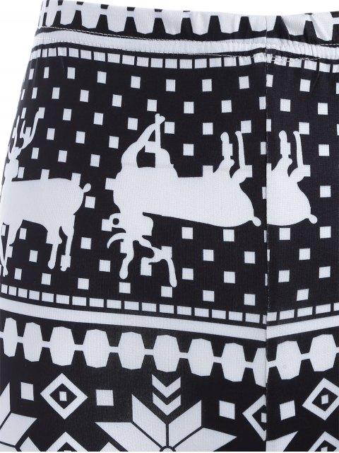 Leggings moulants imprimés flocons de neige et cerfs de Noël - Blanc et Noir TAILLE MOYENNE Mobile