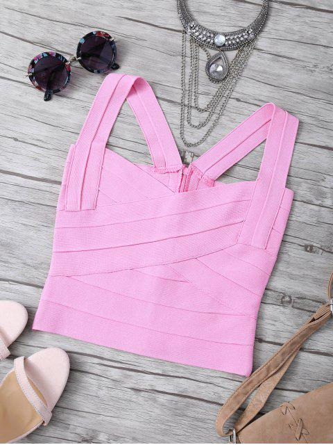 online Back Zipper Tank Top - PINK ONE SIZE Mobile
