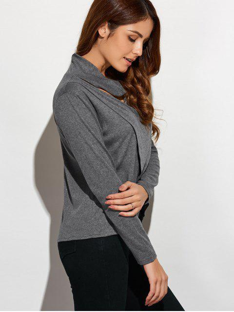 women Cutout High Neck T-Shirt - GRAY M Mobile