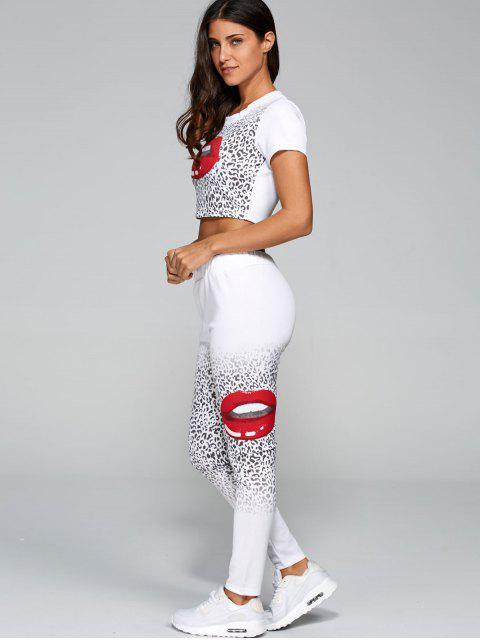 buy Mouth Lips Crop Top + Cheetah Pants Set - WHITE XL Mobile
