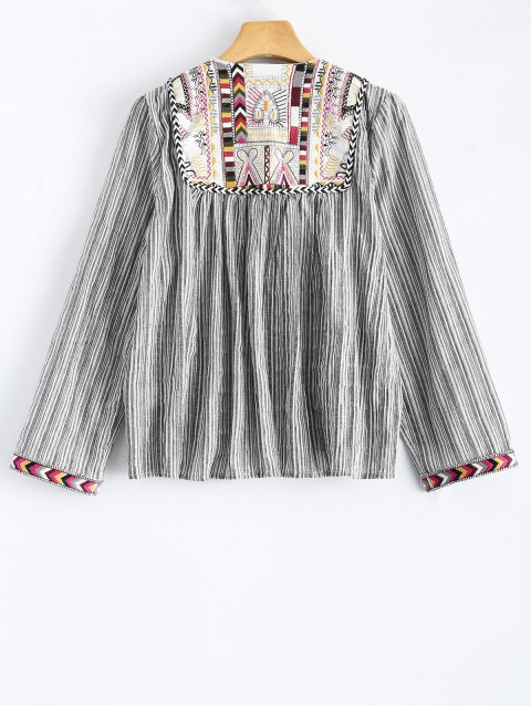 chic Striped Embroidered Jacket - STRIPE S Mobile