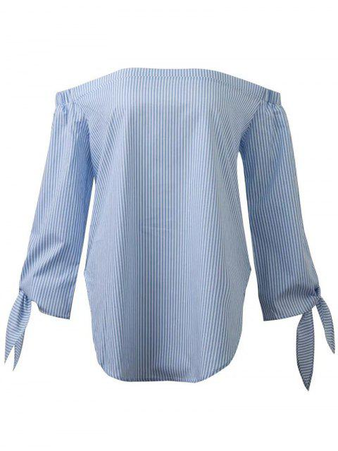 women Off The Shoulder Top With Sleeve Tie - BLUE S Mobile