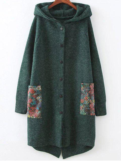 womens Patch Pocket Hooded Oversized Cardigan - GREEN ONE SIZE Mobile