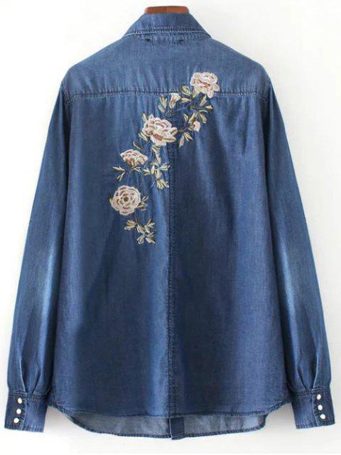 ladies Floral Emboidered Denim Shirt - BLUE M Mobile