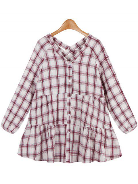sale Long Ruffles Checked Blouse - RED ONE SIZE Mobile