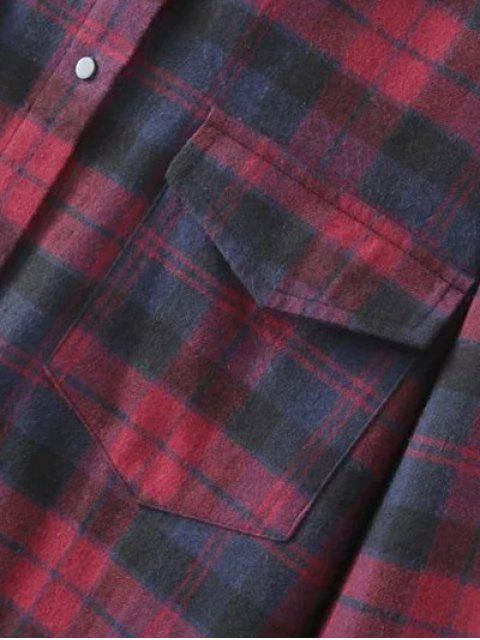 women Plaid Flannel Shirt Dress With Pockets - COLORMIX L Mobile