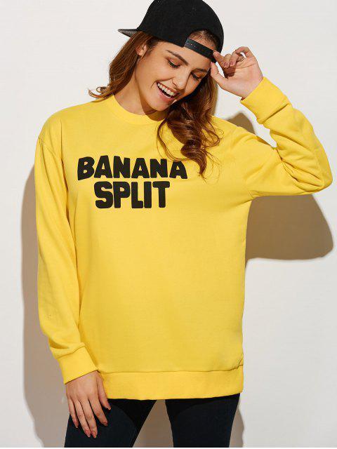 best Crew Neck Letter Sweatshirt - YELLOW M Mobile