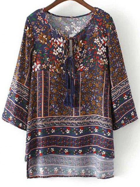 online Floral Print Tie Neck Top - PURPLISH BLUE M Mobile