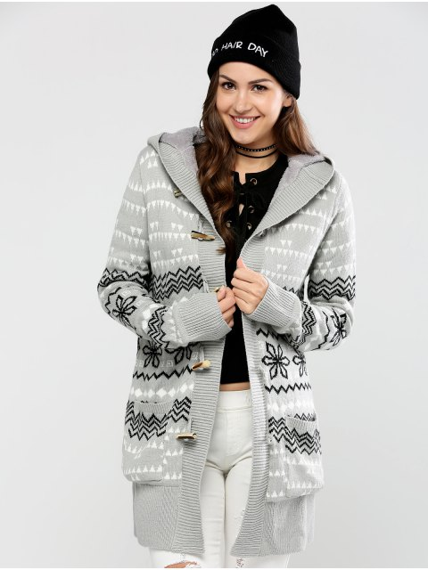 unique Geometric Horn Button Hooded Cardigan - GRAY XL Mobile