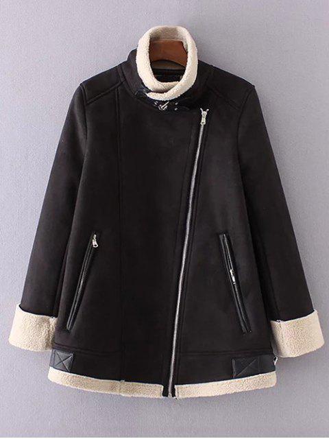 hot Fleece Lining Faux Suede Funnel Coat - BLACK L Mobile