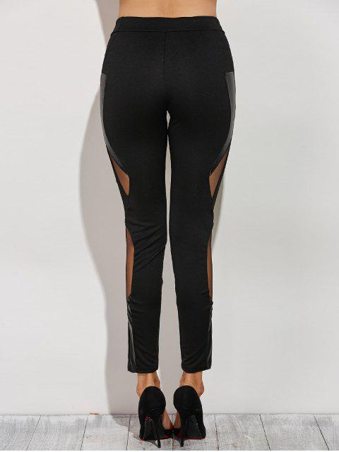 online Mesh Spliced Narrow Feet Pants - BLACK XS Mobile