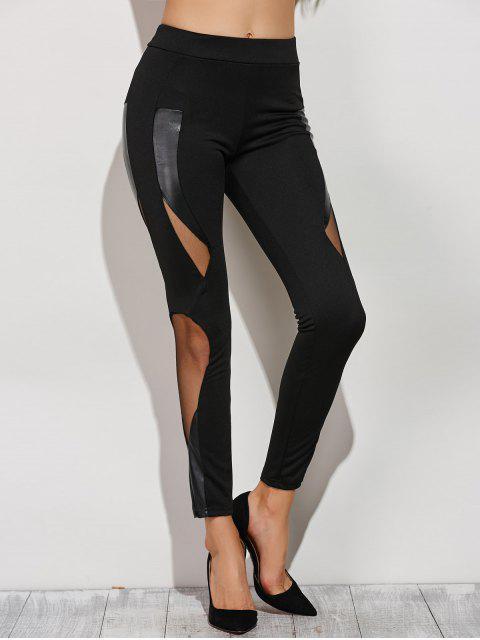 Pantalon moulant resserré aux chevilles ajouré avec jointif en maille - Noir XS Mobile