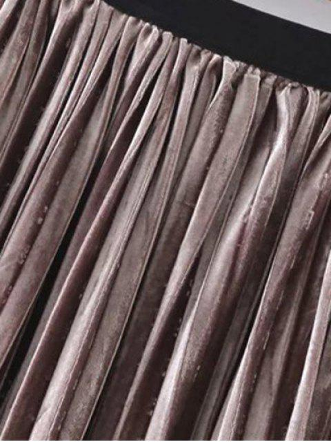 fashion Pleated Velvet Skirt - GOLD BROWN ONE SIZE Mobile