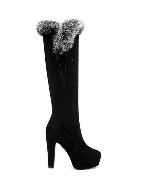 women's Zipper Platform Faux Fur Knee-High Boots - BLACK 38 Mobile