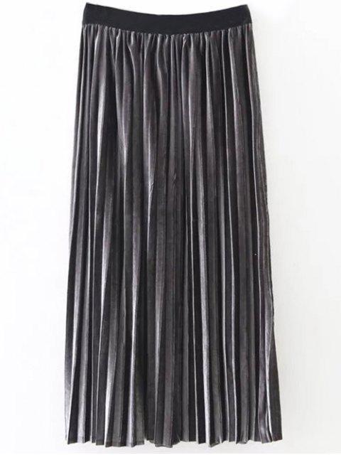 chic Pleated Velvet Skirt - DEEP GRAY ONE SIZE Mobile