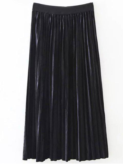 unique Pleated Velvet Skirt - BLACK ONE SIZE Mobile